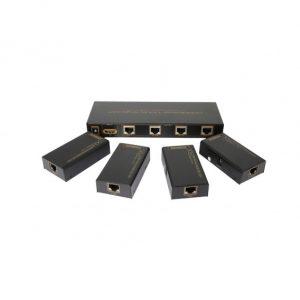 1X4 ПЕРЕДАТЧИК-СПЛИТТЕР HDMI ПО ВИТОЙ ПАРЕ ДО 60M AIRBASE K-EX60SP1X4